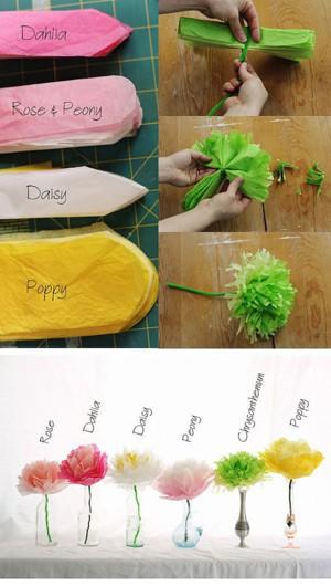 Разнообразные цветы из полиэтилена