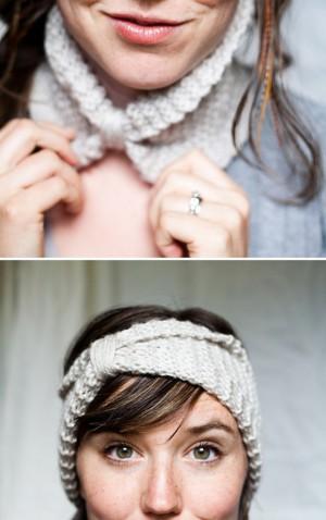 Вязаный воротничок-повязка на голову