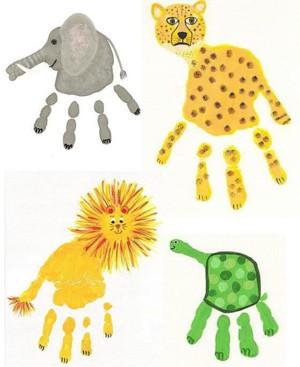 Рисуем животных из ладошки