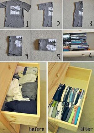 Аккуратное хранение футболок