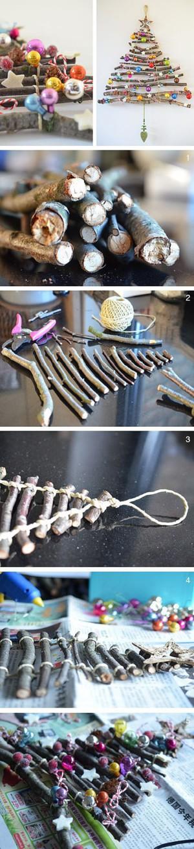 Ёлка из связанных палочек