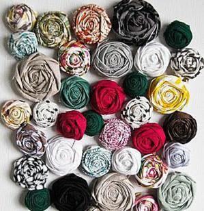 Цветы из ткани и лент