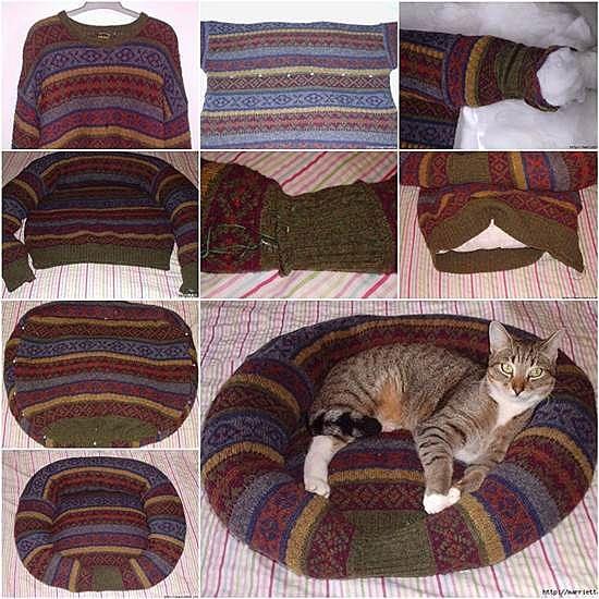 Подстилка для собаки из свитера