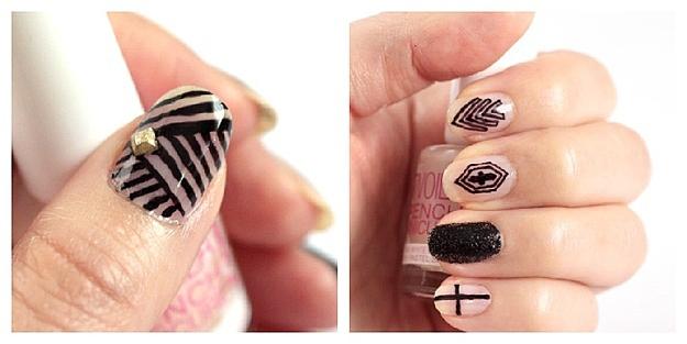 Рисунки на ногтях чёрным маркером
